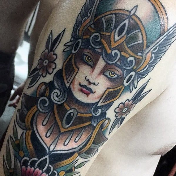 Arm Traditional Sharp Valkyrie Male Norse Mythology Tattoo Ideas