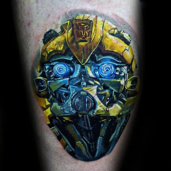 Arm Transformers Yellow Ink 3d Tattoos For Men