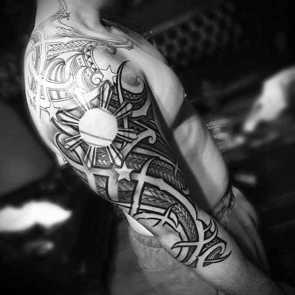Arm Tribal Filipino Sun Male Tattoos