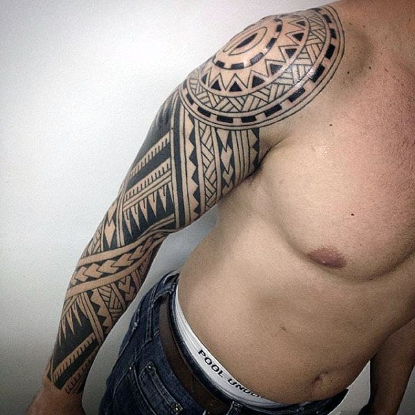 Arm Tribal Tattoo Designs For Guys Polynesian