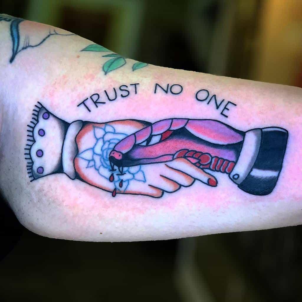 arm trust no one tattoos f1fty1f1fty