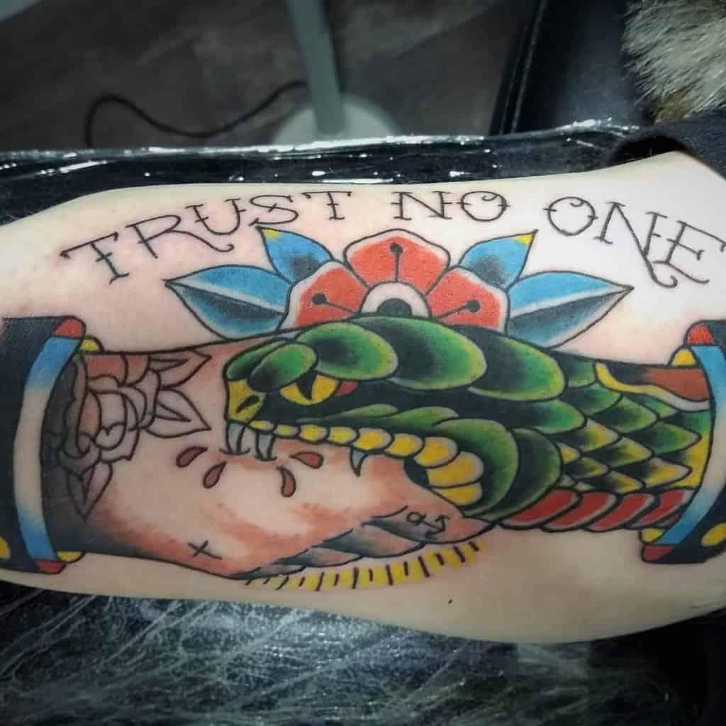 arm trust no one tattoos johnnysilvertattoo