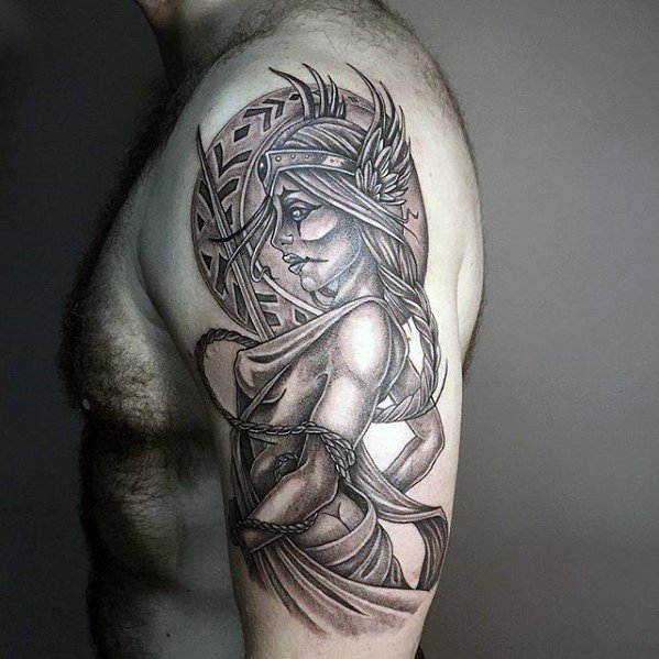 Arm Valkyrie Tattoo Designs For Men