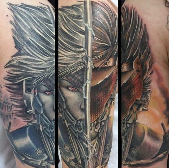Arm Video Game Mens Metal Gear Tattoo Ideas