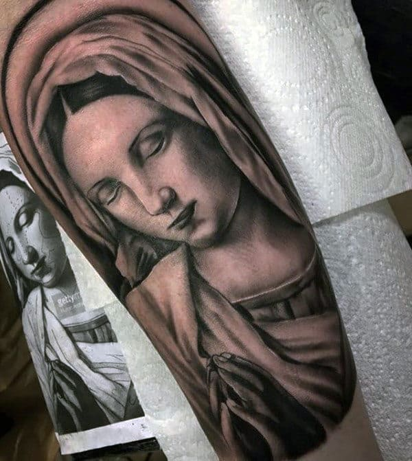 Arm Virgin Mary Tattoos For Guys