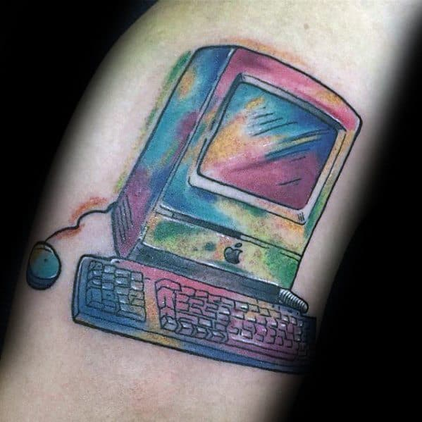 Arm Watercolor Colorful Computer Mens Tattoo Designs