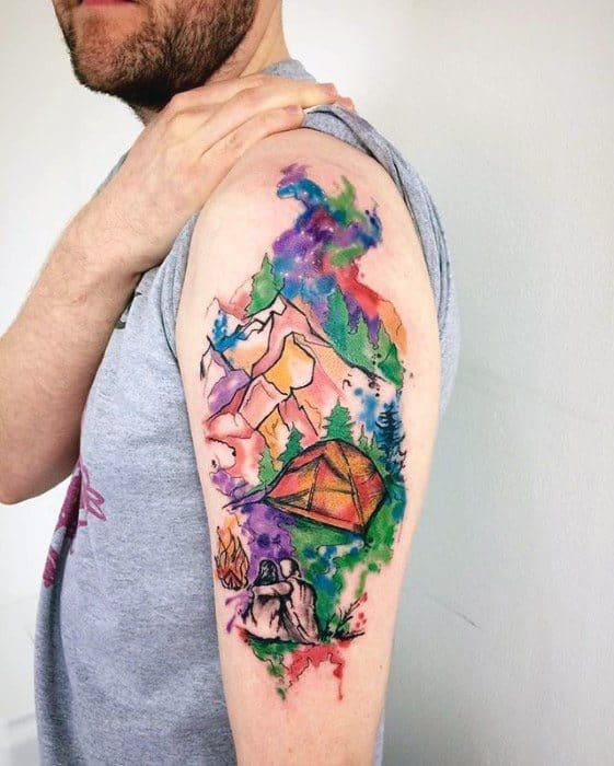 Arm Watercolor Nature Landscape Tent Tattoos For Men