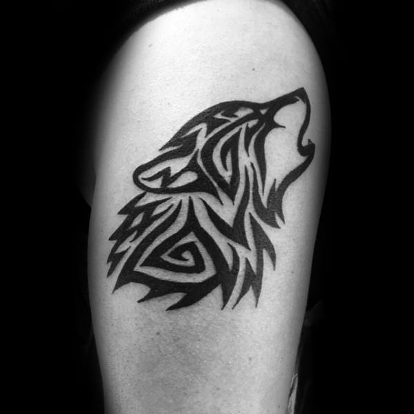 Arm Wolf Cool Male Animal Tribal Tattoo Designs