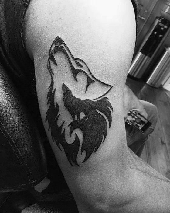Arm Wolf Male Animal Tribal Tattoo Design Inspiration