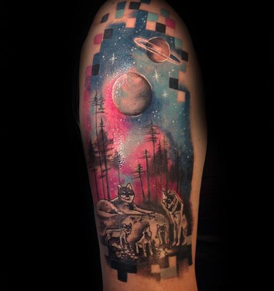 Arm Wolves Under Moon Night Sky Male Cool Pixel Tattoo Ideas