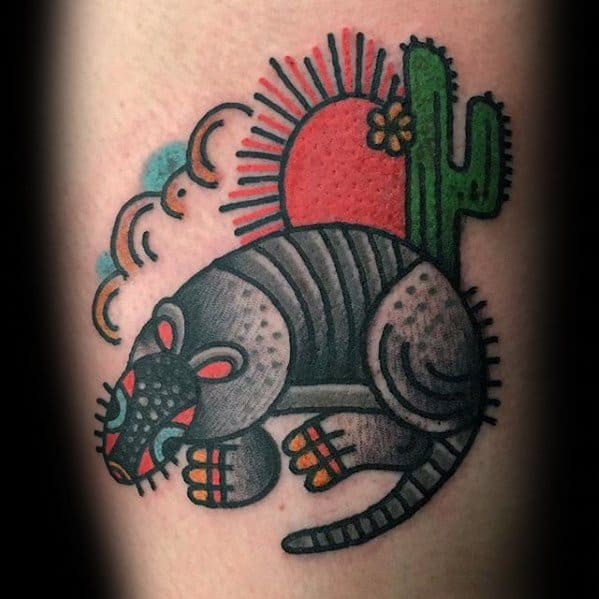 Armadillo Traditional Small Mens Tattoo Ideas On Arm
