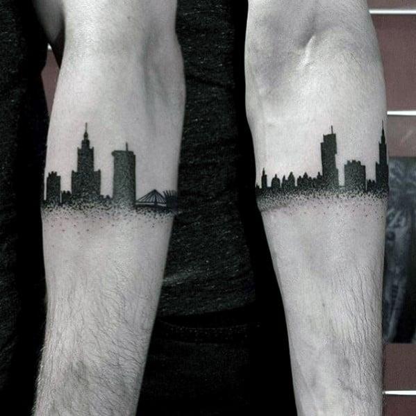 Armband Black Ink Dotwork Guys Skyline Tattoos