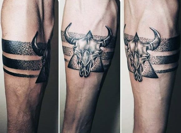Armband Dotwork Male Triangle Bull Taurus Forearm Tattoos