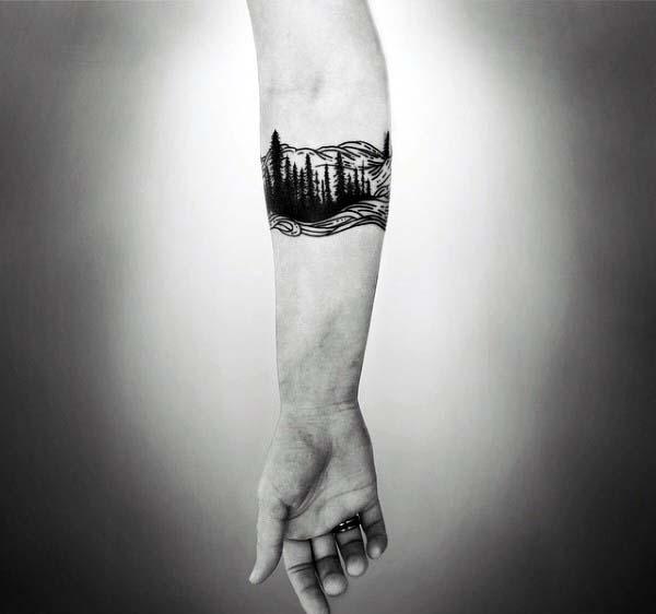 Armband Woodcut Mens Nature Tattoo Design Ideas