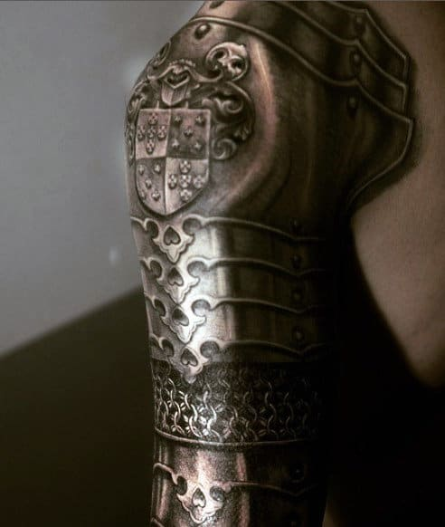 Armor Chain Tattoo For Men Full Sleeve