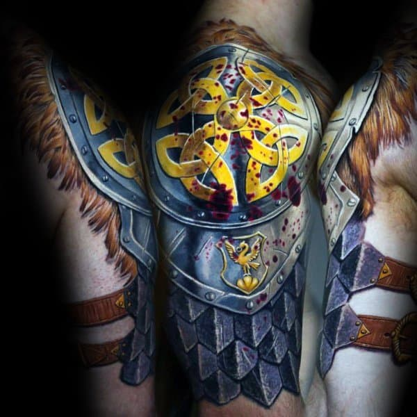 Armor Plate Celtic Arm And Shoulder Mens Coolest Tattoos