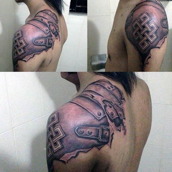 Armor Plate Mens Endless Knot Shoulder Tattoos