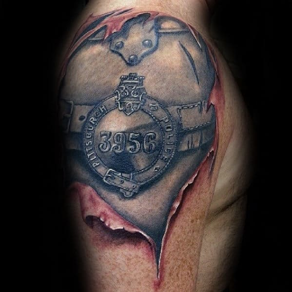 Armor Plate Mens Ripped Skin Police Quarter Sleeve Tattoo