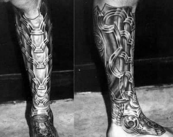 Armor Plate Mens Shin Tattoos