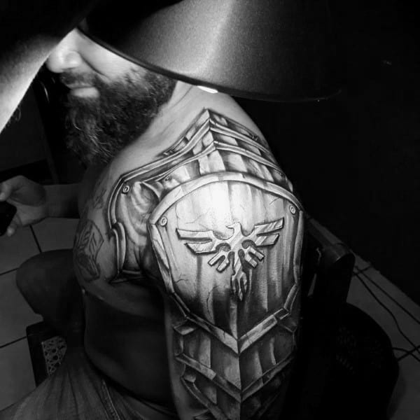 Armor Plate Shield Guys 3d Arm And Shoulder Tattoo