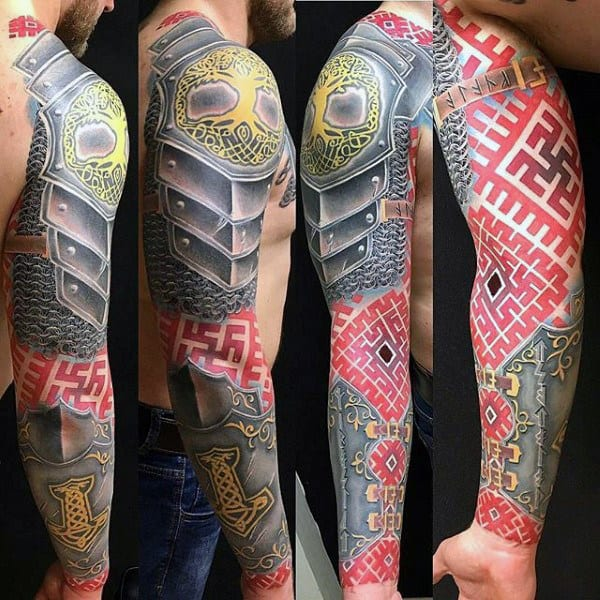 Armor Plate Sleeve Tattoo For Men With Red Ink Patterns