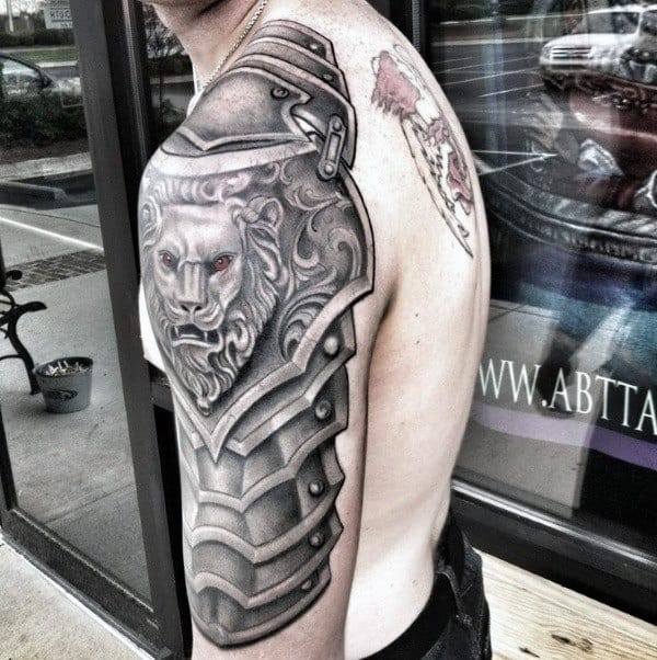 Armor Plate With Lion Cool Mens Arm Tattoo