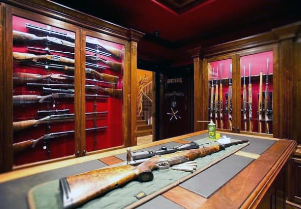Armory Room Design With Glass Cases