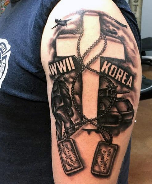 Army Dog Tags Tattoos On Men On Upper Arm
