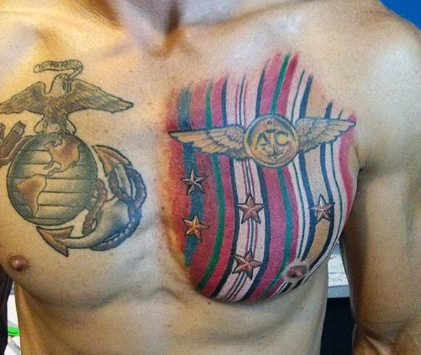 Army Flag Male Tattoo For Marines On Chest