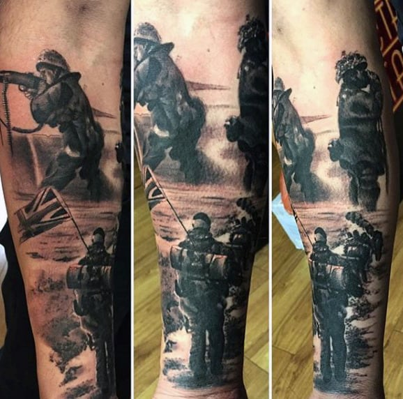 Army Memorial Tattoo Designs For Males