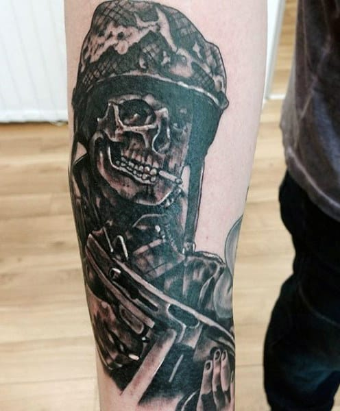 Army Skeleton Men's Tattoo