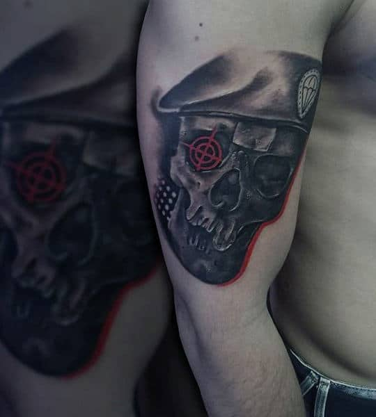 Army Skull Target Mens Upper Arm Tattoo