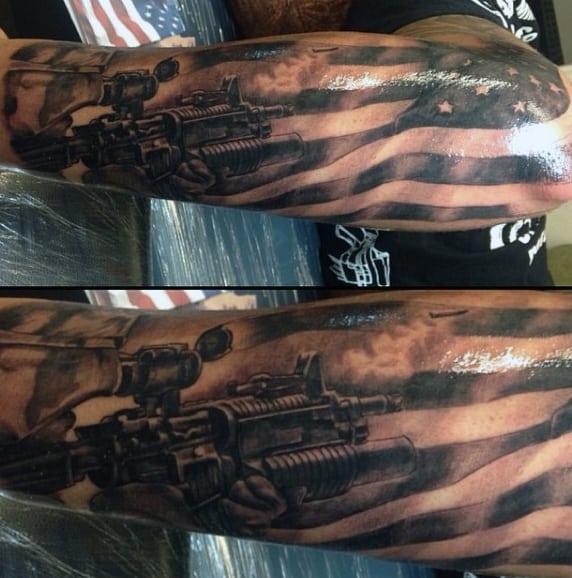 Army Sleeve Tattoos On Man
