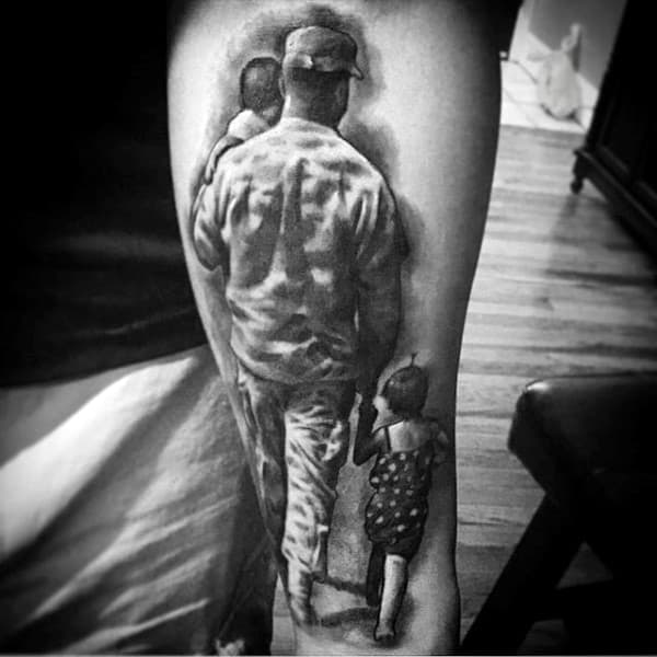Army Solider Walking With Children Male Inner Forearm Tatto