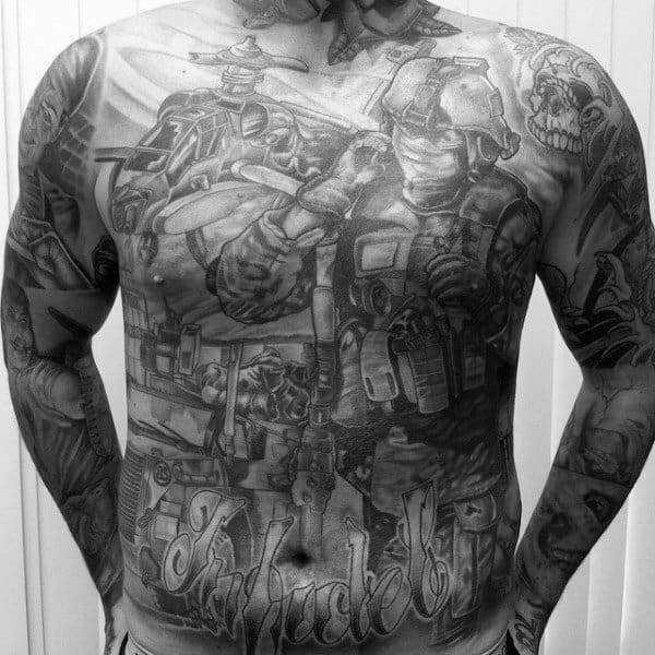 Army Themed Mens Full Chest Tattoo Ideas