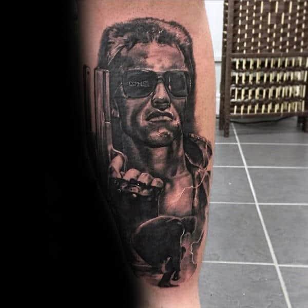 Arnold Schwarzenegger With Pistol Mens Terminator Leg Tattoos