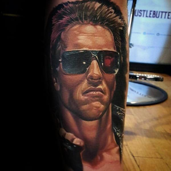 Arnold Schwarzenegger With Sunglasses Terminator Tattoo For Men