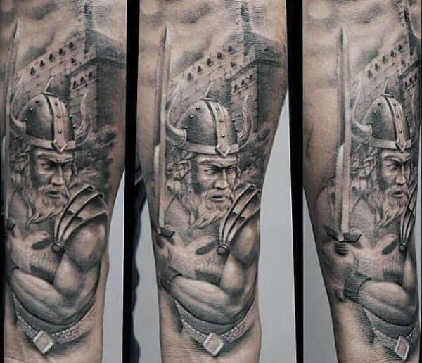 Arrogant Warrior Tattoo Male Forearms