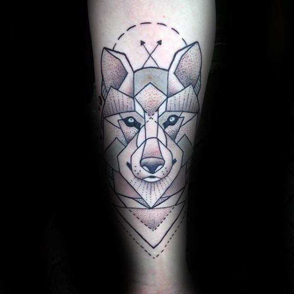 Arroows Geometric Wolf Male Forearm Tattoo Ideas