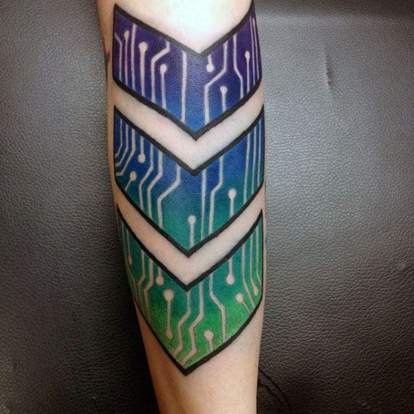 Arrow Circuit Board Colorful Mens Tattoos On Outer Forearm