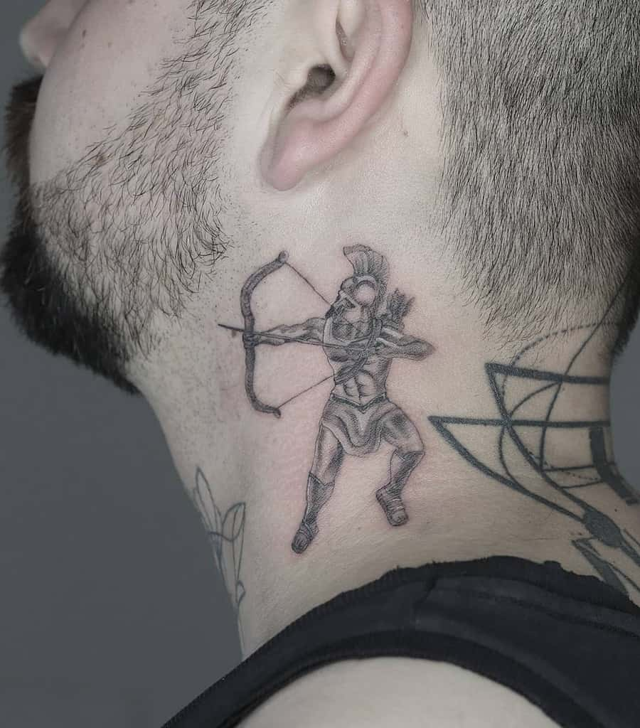 Arrow fineline single needle neck tattoo