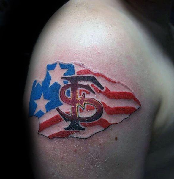 Arrow Head American Flag Fsu Tattoo Ideas For Males On Upper Arm