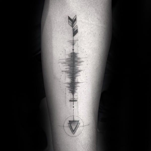 Arrow Soundwave Mens Inner Forearm Tattoo Design Inspiration