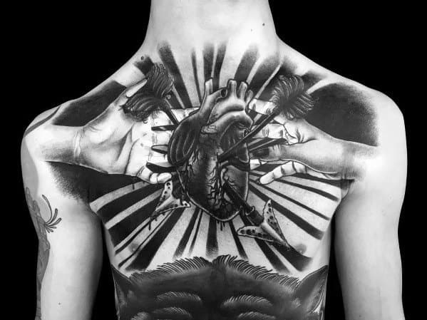 Arrows 3d Heart Tattoo Inspiration For Men On Back