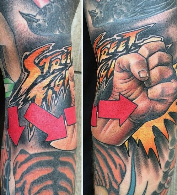 Arrows Street Fighter Guys Sleeve Tattoos