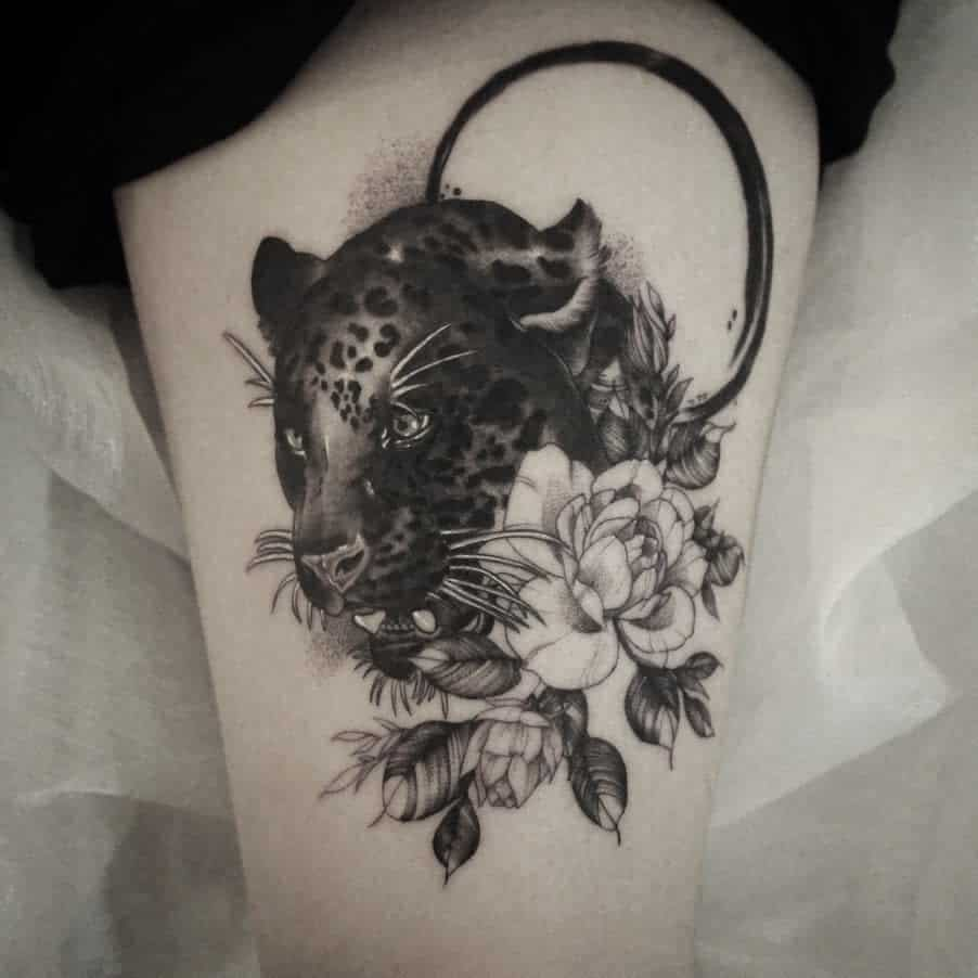 art-work-black-flower-jaguar-tattoo-ryujintattooer