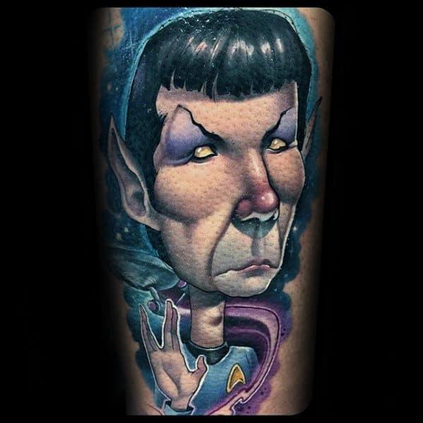 Artistic Arm 3d Guys Tattoos With Star Trek Design