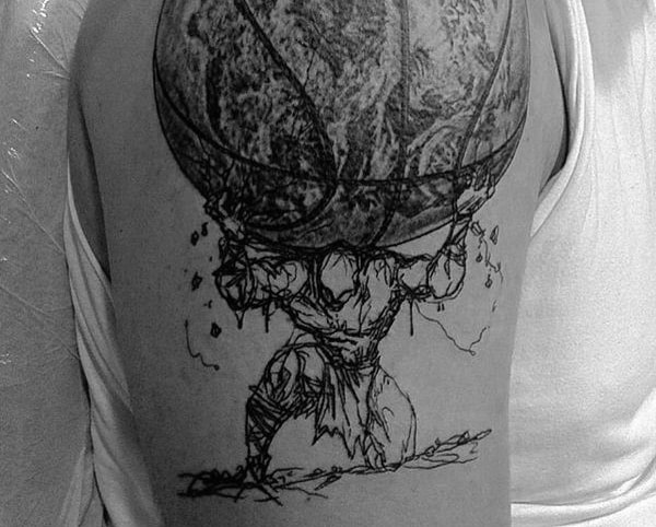 Artistic Atlas Holding The Globe Mens Upper Arm Fitness Tattoo Ideas
