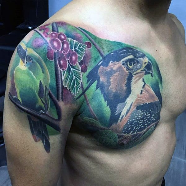 Artistic Birds Male Chest And Shoulder Tattoo