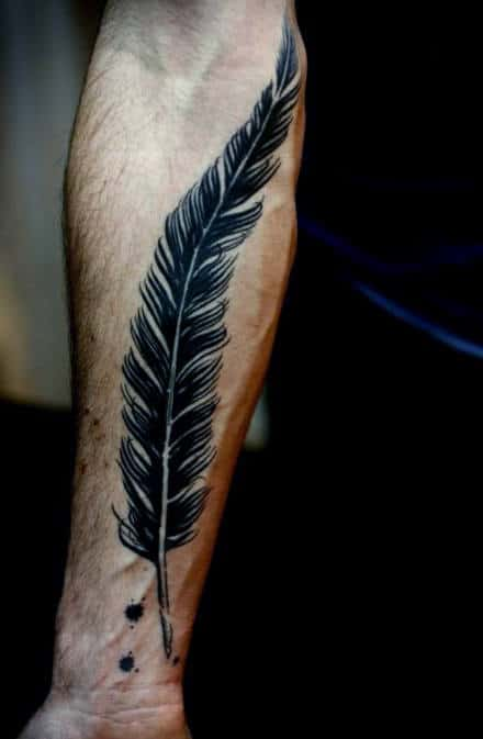 Artistic Black Feather Tattoo For Men On Forearm
